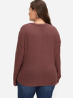 Plus Size Coffee Self-tie Button Front Knit Sweater