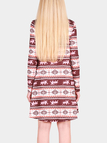 Brown Elk And Snow Pattern Round Neck Long Sleeves Christmas Dress