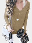 Khaki Plunge V-neck Long Sleeves T-shirt