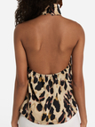 Khaki Leopard Halter Backless Cami