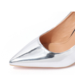 Sexy Silver Point Toe Party Heels with Comma Heel