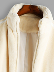 Beige Side Pockets Long Sleeves Faux Fur Coat
