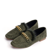Army Green Chain Decoration Fur Suede Loafers