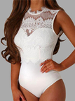 White Lace Insert Cut Out Sleeveless Bodysuits with Backless Design