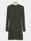 Army Green Lace Crew Neck Long Sleeves Dress