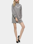 Long Sleeves Mini Dress with Plaited Details in Grey