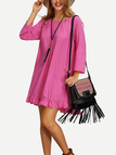 Long Sleeves Round Neck Loose Dress with Back Tassel