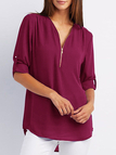 Burgundy Zip Design V-neck Adjustable Sleeve Length Blouse