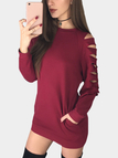 Burgundy Round Neck Cutout Raglan Sleeve Mini Tee Dress