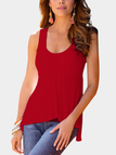 Red Plain Scoop Neck Irregular Hem Camis