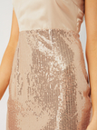 Apricot Spaghetti Straps Sequins Embellished Dress