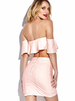 Off The Shoulder Flouncy Details Wrap front Mini Skirt Co-ord