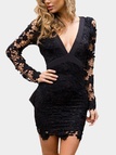 Black Sexy V-neck Hollow Design Backless Self-tie Lace Dress