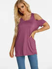Purple Slit Pleated Back Design Cold Shoulder Lace Up Short Sleeves T-shirts