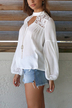 White Hollow Design Round Neck Long Sleeves Blouse