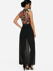 Black See-through Embroidered Mesh Lace Trim Maxi Romper