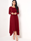 Burgundy Casual Round Neck Maxi Dress