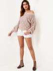 Pink Twist Knitted One Shoulder Sweater