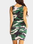 Camouflage Pattern Scoop Neck Cami Dress in Green