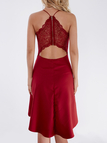 Burgundy Cut Out Lace Insert Back Irregular Hem Dress