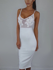 White Casual See-through Embroidered Front Spaghetti Dress