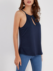 Navy Design Chest Cut Out Camis
