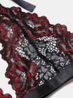 Burgundy Suspender Design Lace Lingerie Set Without Stockings