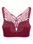 Burgundy Butterfly Embroidered Wireless Gather Front Closure Bra