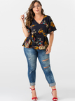 Plus Size Belted Design Floral Print Flared Sleeves Blouse