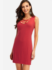 Red Lace-up Design Sleeveless Sexy Dress