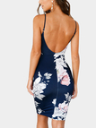 Navy Sleeveless Random Floral Print Backless Dress with Adjustable Shoulder Belt