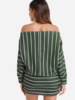 Army Green Stripe Off The Shoulder Dolman Sleeves Dress