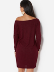 Burgundy One Shoulder Long Sleeves Knitted Sweater Dress