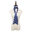 Star Pattern Silky-look Skinny Long Scarf in Navy