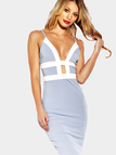 Sexy V-neck Contrast Body-con Midi Dress