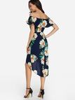 Sexy Random Floral Print Off-the-shoulder Midi Dress in Navy