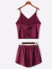 Burgundy Casual Deep V-neck Two Piece Outfits