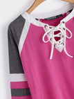 Pink Lace-up Design Round V-neck Long Sleeves T-shirts