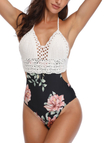 Floral Print Crochet One Piece Swimsuit