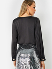 Black V-neck Drapey Crossed Front Pearl Buttons Top