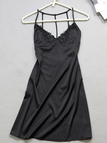 Black Lace-applique Strappy Back Satin Slip Pajamas Night Dress