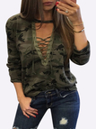 Sexy Camouflage Pattern V-neck Lace-up Front Top
