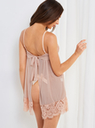 Nude Tie-up Back Mesh Lace Babydoll Pajamas with G-strings