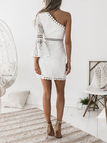 White One Shoulder Bell Sleeve Lace Dress