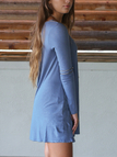 Blue Solid Color Long Sleeves Dress