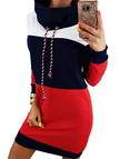 Navy High Neck With Drawstring Stitching Design Pullover Dress