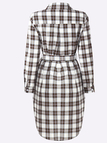 White Casual Grid Pattern Shirt Dress with Belt