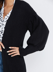 Black Open Front Plain Long Lantern Sleeves Sweater Coat