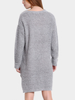 Grey Slouchy Jumper Dress with Side Slits