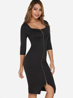 Black Zip Design Square Neck 3/4 Length Sleeves Dresses